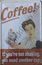 blikken wandbord coffee / shaking 20-30 cm
