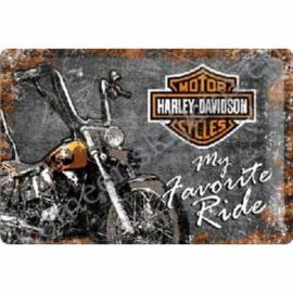 metalen wandplaat Harley,  my favorite ride 20x30 cm
