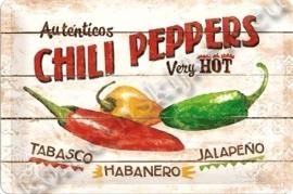 metalen wandplaat chilli peppers 20-30 cm