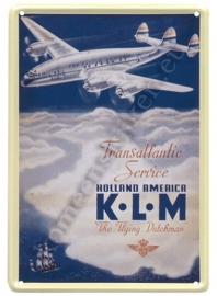 metalen ansichtkaart KLM Constalation 10-14 cm