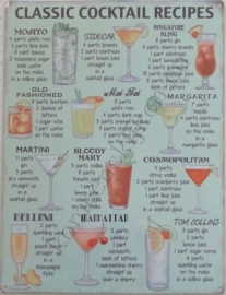 wandplaat classic cocktail recipes 30x40 cm