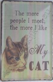 wandplaat I like my cat 20-30 cm
