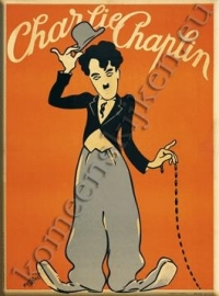 Metalen ansichtkaart groetende Charlie Chaplin 15x21 cm