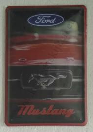 metalen reclamebord Ford Mustang voorzijde 20x30 cm