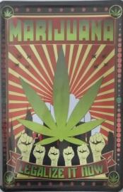 blikken wandbord marijuana 20-30 cm