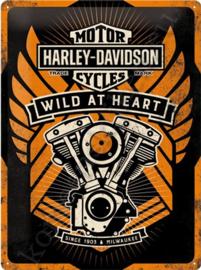 metalen wandbord harley davidson wild at heart 30-40 cm