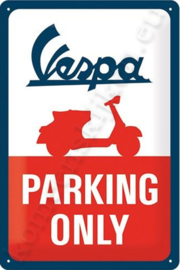 metalen wandbord vespa parking only 20-30 cm