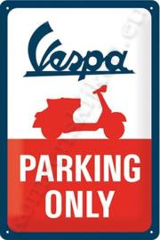 metalen wandbord vespa parking only 20-30 cm