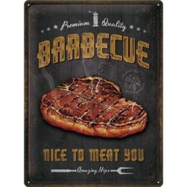 Metalen wandplaat Barbecue, nice to meat 30x40 cm