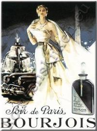 metalen ansichtkaart Soir de Paris Bourjois 15-21 cm