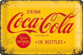 metalen wandbord coca cola geel 20-30 cm