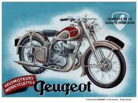 metalen wandbord peugeot motorfiets 20-30 cm
