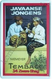 metalen reclamebord Javaanse Jongens 20-30 cm