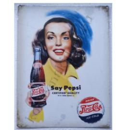 metalen wandplaat say pepsi cola 30-40 cm