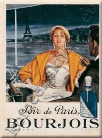 metalen ansichtkaart Soir de Paris Bourjois champagne 15-21 cm