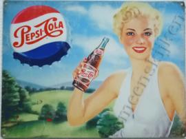 blikken wandplaat pepsi cola kroonkurk dame wit 30-40 cm