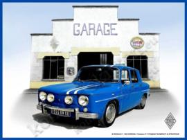 metalen wandbord renault 8 gordini / garage 15-20 cm