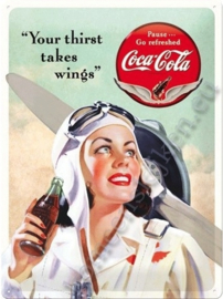 metalen reclamebord Coca Cola wings 30x40 cm
