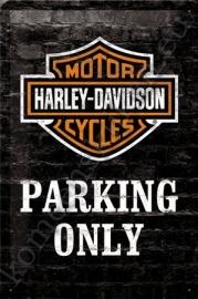 blikken wandbord harley davidson parking only 20-30 cm