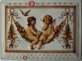 metalen kalender engel 30x40 cm