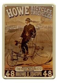 metalen ansichtkaart Howe fietsen 10-14 cm