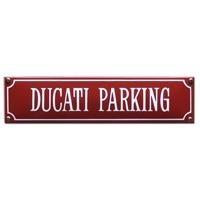 emaille straatnaambord ducati parking / rood-wit