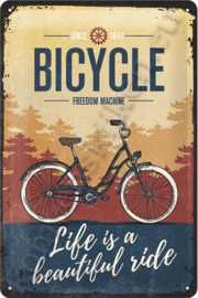 blikken wandbord Bicycle freedom machine 20x30 cm