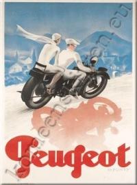 metalen ansichtkaart peugeot motorfiets 15-21 cm