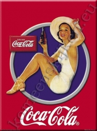 metalen ansichtkaart Coca Cola dame in cirkel 15-21 cm