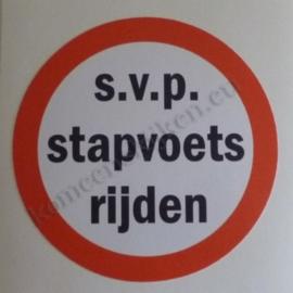 sticker s.v.p. stapvoets rijden 7,5 cm
