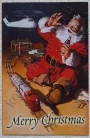 papieren kerstkaart coca cola kerstman met trein en helicopter
