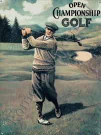 blikken bord golfende heer 30-40 cm
