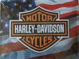 metalen wandplaat harley davidson usa vlag 30-40 cm..