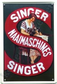 metalen reclamebord singer naaimachines 20-30 cm