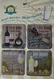 vier metalen onderzetters vino blanco en rosso