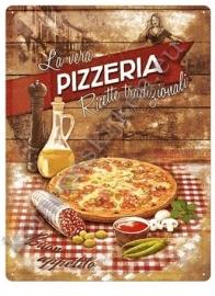 metalen wandbord pizzeria 30-40 cm..