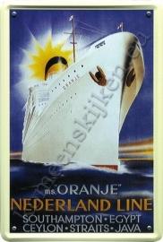 metalen ansichtkaart MS Oranje 10-14 cm