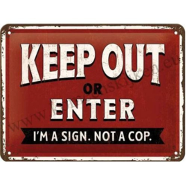 metalen deurbord keep out or enter 15x20 cm