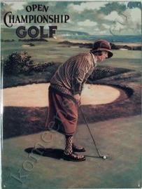 blikken bord golfende dame 30-40 cm