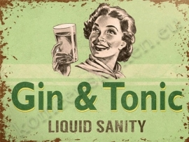 metal wall sign gin & tonic 30-40 cm