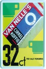 metalen reclamebord Van Nelle`s cirkel koffie 20-30 cm