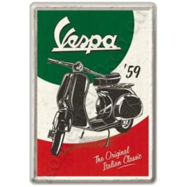 Metalen ansichtkaart Vespa, the Italian classic 10-14 cm