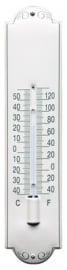 emaille thermometer deco wit met groene rand