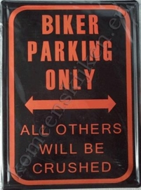 blikken bord biker parking only 30x40 cm