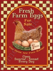 wandplaat fresh farm eggs 30-40 cm