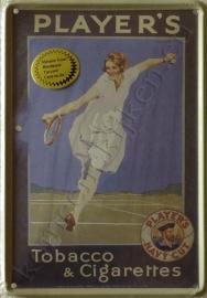 metalen ansichtkaart player's tennis 10-14 cm