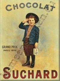 metalen ansichtkaart chocolat suchard jongen 15-21 cm