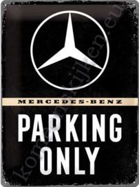 metalen wandplaat mercedes benz parking only 30x40 cm