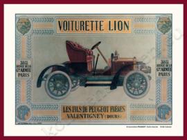 blikken wandplaat peugeot voiturette lion 15-20 cm
