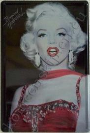 metalen reclamebord Marilyn Monroe zwart / rood 20-30 cm